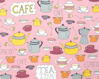 """Robert Kaufman """"Metro Cafe"""" by Pink Light Designs Tea and Cafe in Retro 1 Yard Cut"""