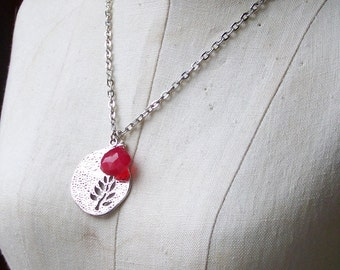 50% 0FF Silver Plated Charm Leaf Necklace, Silver Plated Tree Necklace, Charm Necklace, Fuschia Necklace, Etsy, Etsy Jewelry