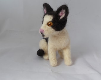 Custom Cat Sculpture, Grey needle felted cat needle felted kitten, Tuxedo cat, calico cat, small size