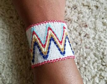 White Tribal Multicolor Crochet Bracelet