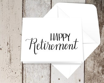 Happy retirement hand lettered card
