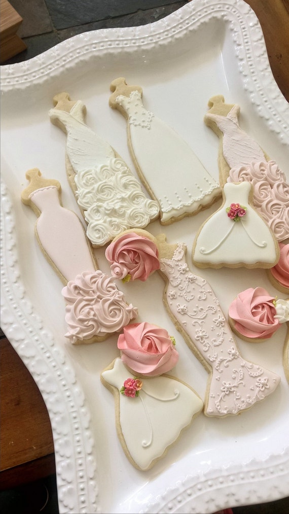 Pink and White Wedding Entourage Dress Cookies-10  Bridal Shower Cookies, Bridesmaids Gifts, Spring Wedding,