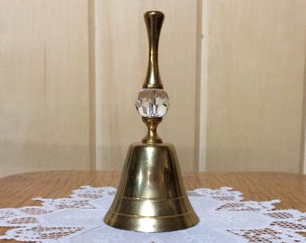 Crystal and brass bell, dinner bell, brass bell with crystal handle, lead crystal bell, vintage bell, Victorian bell