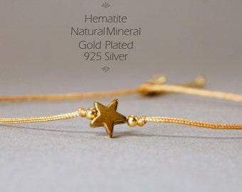 Bracelet Hematite star Gold, 925 silver gold plated, friendship bracelet, thin strap, stars, golden Star, gold bracelet, star