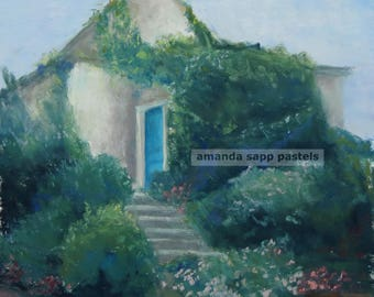 French blue door in Giverny original pastel painting-Amanda Sapp-framed original-French country landscape-french decor-landscape pastel art