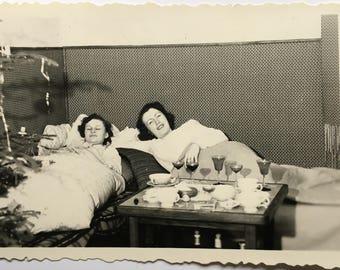"Vintage Photo ""Lazy Christmas Day"" Snapshot Antique Black & White Photograph Paper Found Ephemera Vernacular Interior Design Mood - 54"