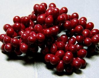 Czech Dark Red Glass Teardrop Beads 5x7mm (50) 0155
