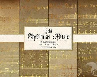 Golden Christmas Sheet Music Digital Paper, Scrapbook Paper, Vintage Sheet Music, Decoupage, Printable Christmas Carols, Songs and Hymns