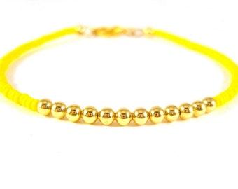 Neon Yellow Beaded Bracelet, Gold Bead Bracelet, Seed Bead Friendship Bracelet, UK Seller