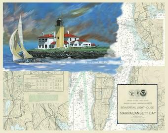 Beavertail Light house with 12 Meter sail boat, Narragansett Bay, Jamestown, on NOAA Chart