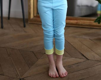 Blue legging with yellow rolling edges