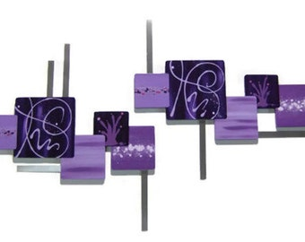 Sale-Purple squares Wall Sculpture, Contemporary,Abstract Art, Floral Wall Decor, Square Wall art, Wood Art w/ Metal 53x25 to 77x33 by DAS