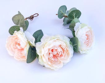 Halo, special occassion, floral crown infant baby headband, baptism, flower girl