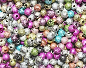 100pcs small 4mm mixed color stardust beads