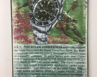 ROLEX SUBMARINER 6538 Vintage ad wall art piece distressed Ready to ship