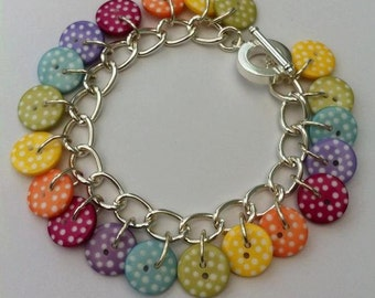 Candy Kiss button Bracelet silver chain