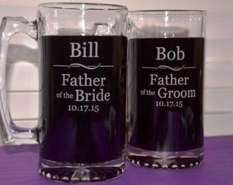 2 Personalized Engraved Wedding Party Mugs for the Groomsmen, Best Man, Ushers or Father of the Groom or Bride , Large 27 oz Glass Steins