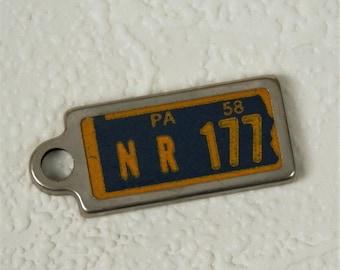 Miniature License Plate Key Chain, Vintage 1958 Pennsylvania License Tag Key Chain Fob, NR 177, Disabled American Veterans