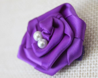 Ribbon Rose Hair Clip