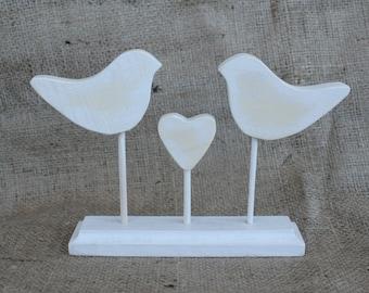 Cake Topper Love Birds - Wedding Cake Topper - Personalized Cake Topper Rustic Wooden Handmade