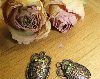 X 2 25 x 16 mm brass Egyptian scarab charms
