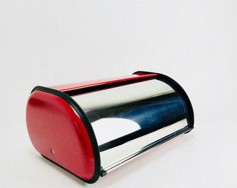 Vintage Bread Box 60s Beerenton red chrome enamel