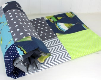 Woodland Baby Blanket, Woodland Nursery Decor, Minky Baby Blanket, Baby Boy, Navy Blue, Navy, Grey, Gray, Lime Green, Lime, Arrows, Teepee