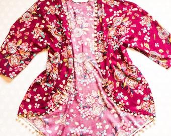 Kimono cardigan - boho kimono - kids kimono - boho blouse - floral blouse - easter outfits - boho kimono cardigans - wine - fuchsia