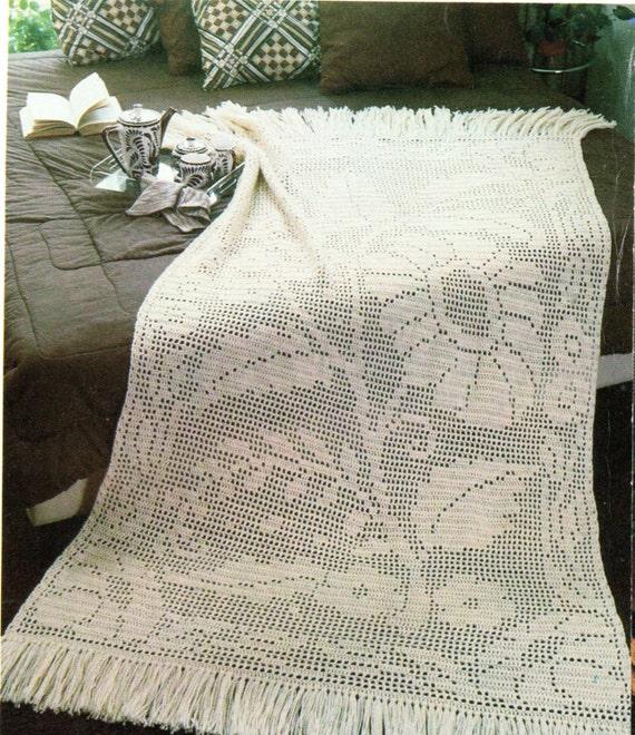 Filet Crochet Flower And Leaves Fringe Afghan Crochet Pattern Daisy