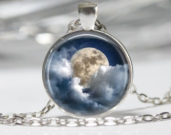 Moon and Cloud Necklace Wearable Art Moon Necklace Sky Jewelry