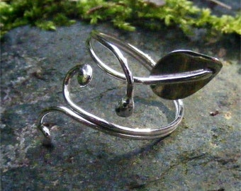 Elven Style Adjustable Sterling Silver Leaf Ring