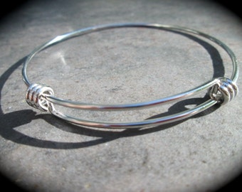 """STAINLESS STEEL bangles adjustable wire bangle bracelet blanks sold per piece Beautiful Quality 2 3/4"""" size"""