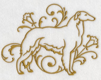 Graceful Borzoi Embroidered Flour Sack Hand/Dish Towel