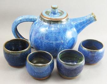 TeaPot & Cups Set Stellar Purple Green to Black Glaze SPGTB24
