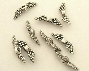 Tiny Angel Wings - 50 pcs. - Angel Wings - Angel Wing Beads - Antique Silver Tibetan Style -  Lead Free