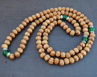 Wood Necklace,Buddhist Necklace,Spirituality,108 Mala Necklace,Pine Wood Beads,Prayer Necklace,Men,Woman,Yoga Bracelet,Protection,Meditation