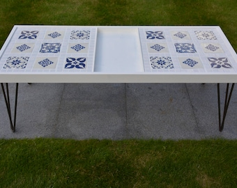 Coffee Table | Hairpin Legs | Mexican Tiles | White & Blue | Lounge | Conservatory | Unique | Handmade