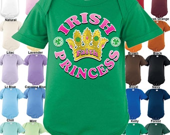 IRISH - Princess Bodysuit - Personalized with Name - Girls / Irish / St. Patrick's Day