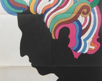 Original 1966 First Printing Bob Dylan Silouhette Insert Poster by Milton Glaser