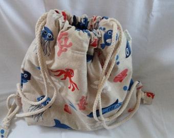 Seaside creature octopus jellyfish starfish backpack - drawstring bag
