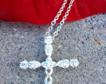 Beautiful Sterling Silver Cross CZ Necklace