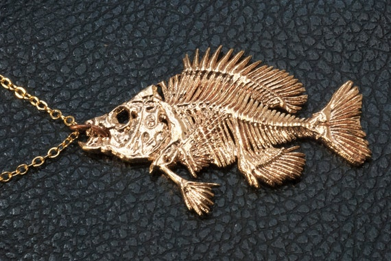 Bluegill fish skeleton pendant bluegill necklace fish for Fish skeleton necklace