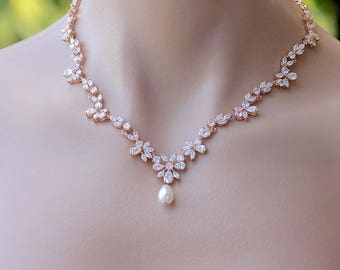 Rose Gold Crystal Necklace, Crystal Bridal Necklace, Rose Gold Bridal Jewelry, ASHLEY RG