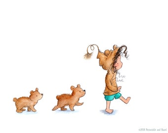 The Three Bears - Brunette Girl and Baby Bears - Art Print