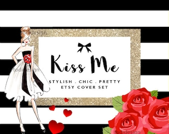 KISS ME, la Saint-Valentin Chic Etsy couverture Photo et Design Icon boutique