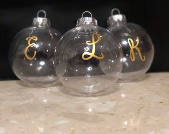 Monogram Ornament, Custom Ornament, Clear Ornament, Clear Monogram Ornament, Initial Ornament, Custom Ornament, Christmas Ornament