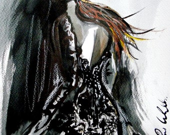 "Lace Dress, Fashion Print, Moody Painting, Printable Download, 8.5"" x 11"", PDF, Wall Art, Fashion Art"