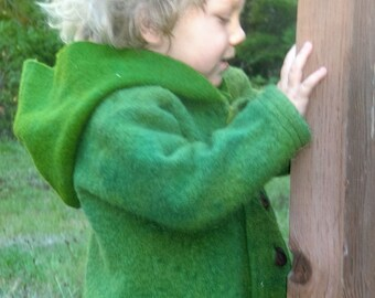 Children's Boiled wool hooded jacket with elk antler buttons/ woolen child/ Magical child/ Forest child/Waldorfchild