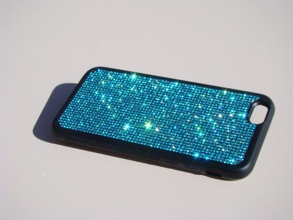 """iPhone 6 / 6s 4.7"""" Aquamarine Blue Rhinestone Crystals on Black Rubber Case. iPhone 6 Aqua Aquamarine, Genuine RangseeCrystalCases"""