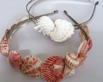 Beautiful Handcrafted Natural Pink or White Shell Hair/Headband's, Crown's, Tiaras, Hair Candy,Bridal,Wedding,Everyday